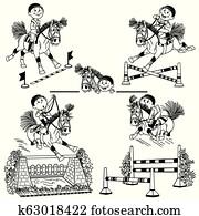satz, von, karikatur, pferd springen