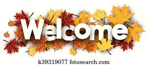 Welcome banner with maple leaves.