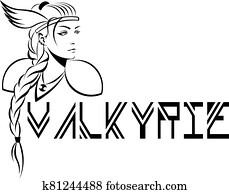 woman-warrior valkyrie in winged helmet