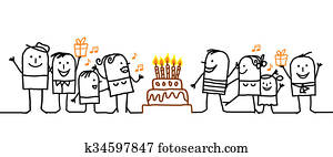cartoon people and birthday cake
