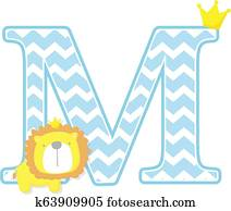 cute baby lion king initial m