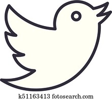 dove, twitter vector line icon, sign, illustration on background, editable strokes