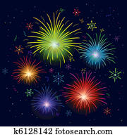Fireworks exploding in sky, long exposure Stock Image ...