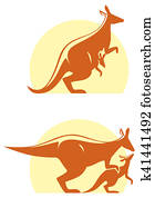Kangaroo with baby icon