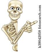 karikatur, zeigen, skelett