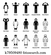 Medical healthcare PPE personal protection equipment gears cliparts.