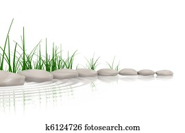 Stones & grass at waters edge