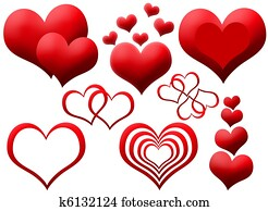 Clipart of red hearts
