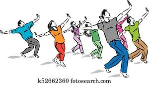 group of dancers together vector illustration