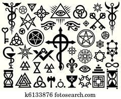 mittelalterlich, okkulte, zeichen, und, magie, briefmarken