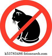 no cats sign (prohibition icon, not allowed symbol)