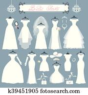 Wedding dresses, accessories set. Fashion flat silhouette