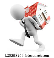 3D white people. Businessman carrying a house. Mortgage