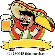 Mexican man holding a beer and taco. Vector Illustration
