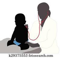 Pediatrician examining of baby