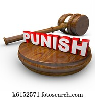 Punish - Judge Gavel and Word for Deciding Punishment