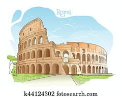 colosseum,, rome,, italy., vektor, illustration.