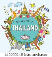 Thailand . Set Thai color vector icons and symbols , vector ill