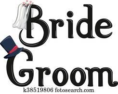 Bride Groom Lettering
