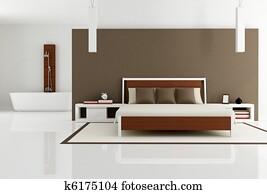 brown bedroom with fashion bathtub