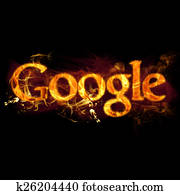 Google Logo on Fire