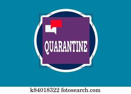 Text sign showing Quarantine. Conceptual photo restraint upon the activities of an individual or the transport of goods Two Empty Speech Bubble Overlapping on Blank Square Shape above a Circle.