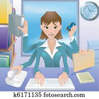 unternehmerin, multitasking, abbildung