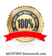 3d best quality golden label with red ribbon isolated on white