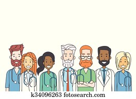 gesellschaft, mittler, doktoren, mannschaft- arbeit, dünne linie