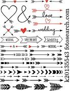 hand-drawn, arrows,, vektor, satz