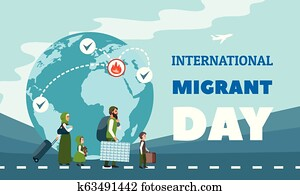Immigration concept background, flat style