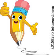 Pencil Character giving thumbs up