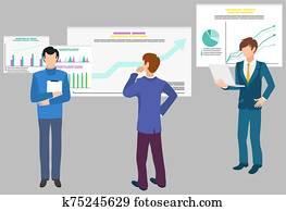 gemeinschaftsarbeit, daten, analytics,, infographics, und, diagramme