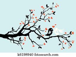 wedding, birds,, vektor