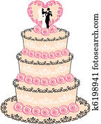 wedding cake, vector