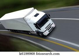 withe semi truck on road