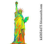 Colorful Statue of Liberty Isolated