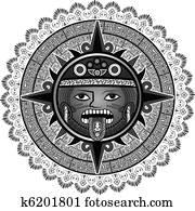Stylis divinit de azt que clipart k6220711 fotosearch - Dessin azteque ...