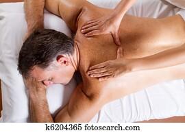 middle aged man back massage