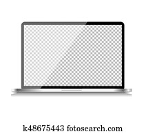 Realistic Computer Laptop with Transparent Wallpaper on Screen Isolated on White Background. Vector Illustration