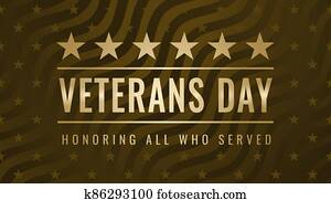 Veterans Day. Honoring All Who Served. November 11th. Usa veterans day celebration. American national holiday. Creative vintage card with gold stars and wave stripes in military style.