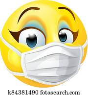 Woman Emoticon Emoji PPE Medical Mask Face Icon