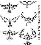 Birdd tribal tattoo