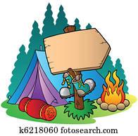 camping, holzschild, bei, zelt