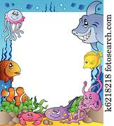 Frame with sea fishes 1