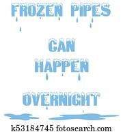 frozen water pipes words illustration