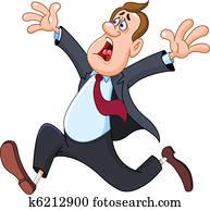 Panicked businessman