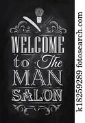 Poster Barbershop welcome chalk