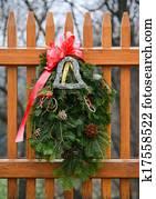 jahreszeitlich, winterbilder, adventskranz, deko, auf, a, zaun