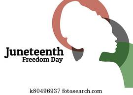 Juneteenth, June 19. Holiday concept. Template for background, banner, card, poster with text inscription. Vector EPS10 illustration.
